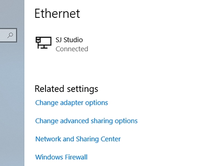 Ethernet Connection settings on a PC
