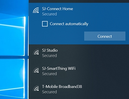 List of available Wi-Fi networks displayed on a PC