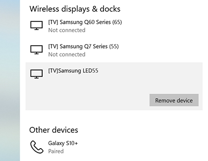 Remove Tv from the list of connected TVs displayed