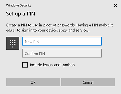 Set up a PIN menu displayed on computer