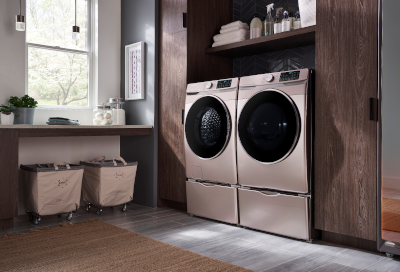 A Samsung washer and dryer in a laundry room