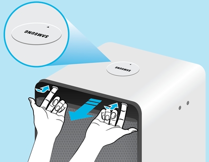 A person opening Samsung Cube Air Purifier filter