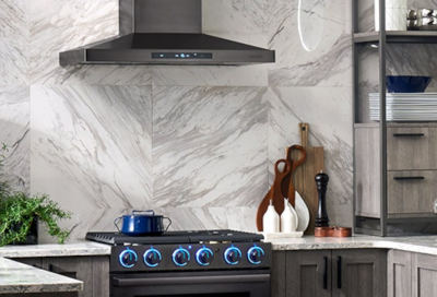 Wall Mount Vent Hood Installed Above A Gas Range