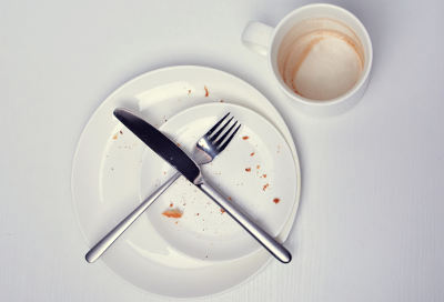 Dirty fork and knife resting on a plate with a dirty mug nearby