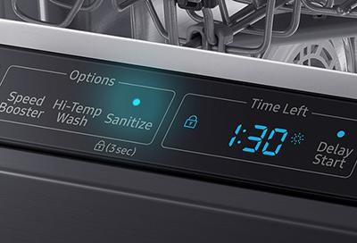 Closeup of sanitize light on Samsung dishwasher