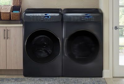 Samsung washer and dryer in a laundry room