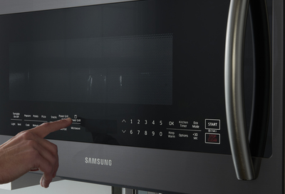 Closeup of the control panel on a Samsung microwave