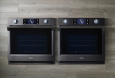 Two Samsung walls ovens installed side by side