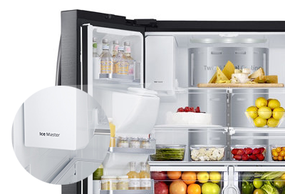 An open Samsung refrigerator with an ice maker built into the door