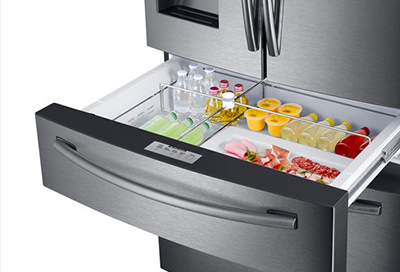 Samsung refrigerator with FlexZone drawer open