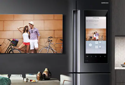 Samsung Family Hub refrigerator with screen mirrored to TV