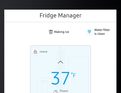 Fridge Manager settings screen on the Family Hub
