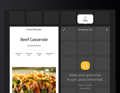 Apps and widgets displayed on the Family Hub for Smart Recipes and Shopping List