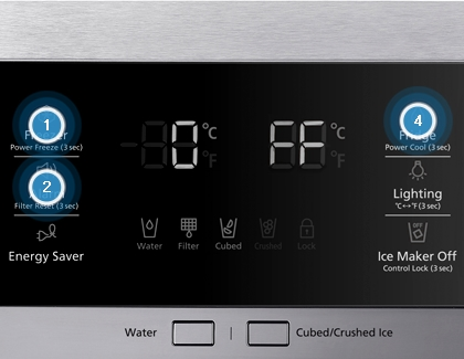 Refrigerator panel showing the step to turn off Cooling mode.