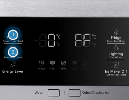 Refrigerator panel showing the step to turn on Cooling mode.