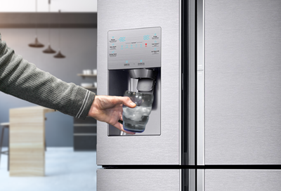 Ice dispensing from a Samsung ice maker