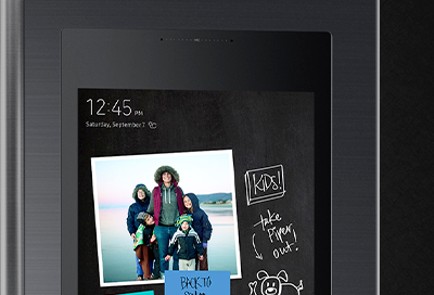 Family Hub screen with Time and Date showing