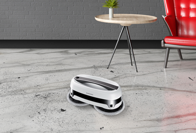 Samsung Jetbot Mop cleaning a marble floor