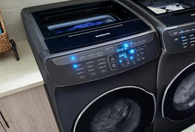 Samsung FlexWash washing machine with clothes inside