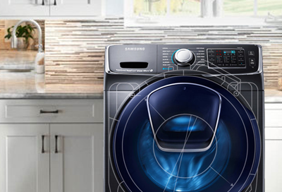 A Samsung washing machine with illustrations depicting the inner components