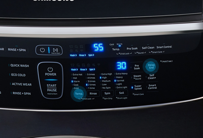 Closeup of buttons on Samsung washer control panel
