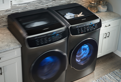 Samsung washer and dryer running with full loads
