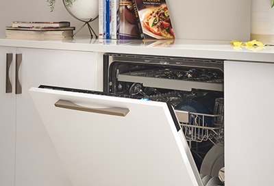 Samsung dishwasher with the door slightly ajar