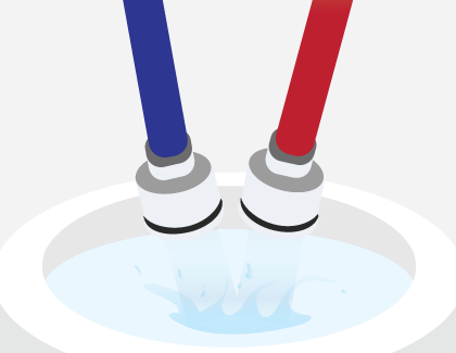 Illustration showing two hoses pouring into a bucket