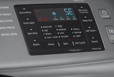 A Samsung washer displaying an SE or 5E No Drain Error code