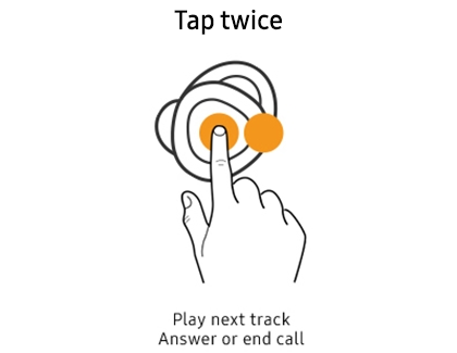 Hand tapping earbud twice