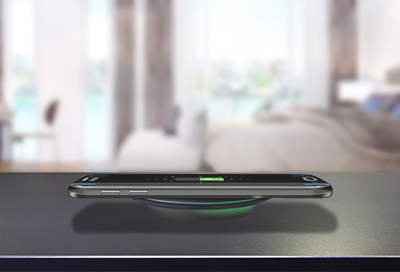 A Samsung phone using wireless fast charging