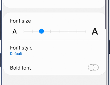 Font size and Font style settings