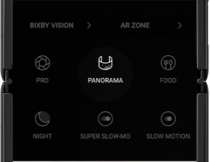 Panorama mode selected in the Camera app