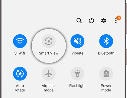 Quick panel with Smart View icon highlighted