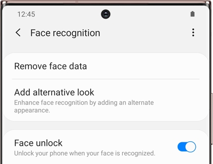 A list of Face recognition settings on a Galaxy phone