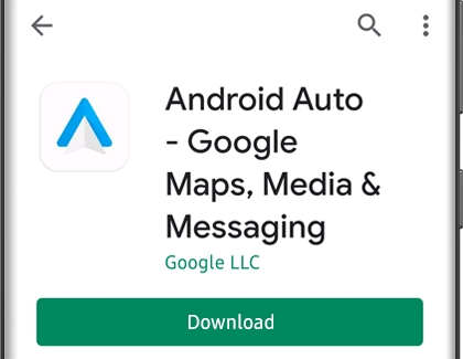 Download option below Android Auto on a Galaxy phone