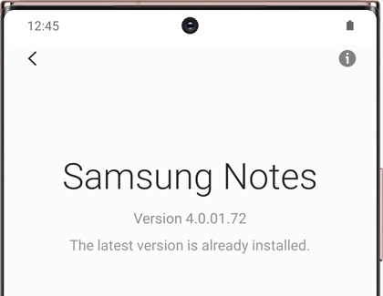 Samsung Notes version information on a Galaxy phone