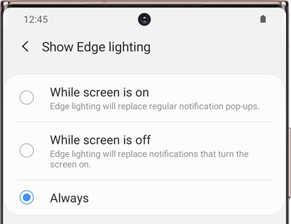 Show Edge lighting screen with a list of options on a Galaxy phone