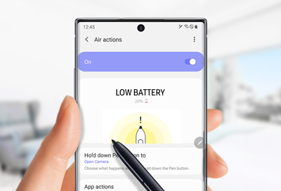 Low battery notification for S pen