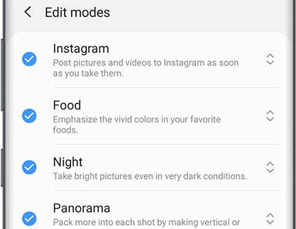 Edit modes from Camera Settings