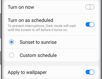 Turn on as scheduled for Dark mode