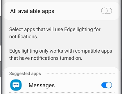 A list of available apps that have Edge lighting notifications