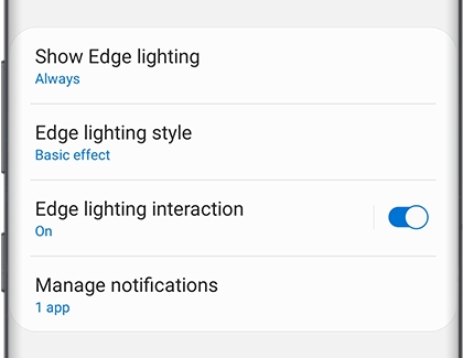 Edge lighting interaction switch set to On
