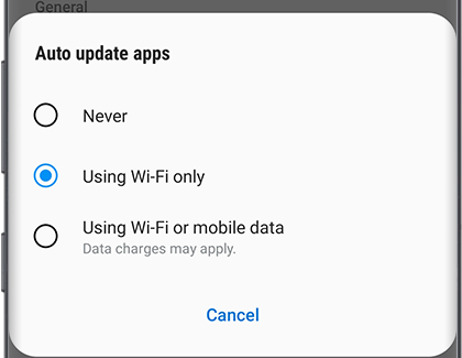 Auto update apps choices listed