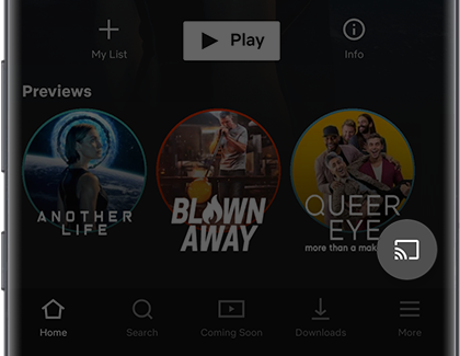 Highlighted Cast icon in the Netflix app