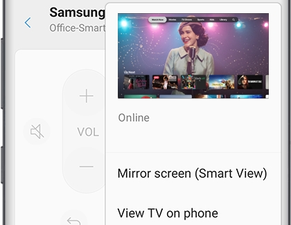 Mirror screen (Smart View) option for Samsung TV