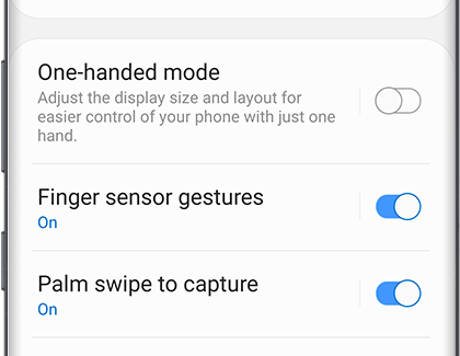 A list of settings with Finger sensor gestures