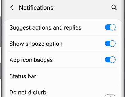 Notifications screen with a list of settings