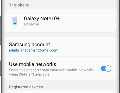 Sharing and connection settings on S10