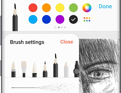 Different brushes displayed in PENUP